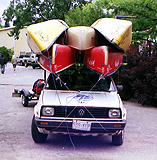 How NOT to tie canoes on a car